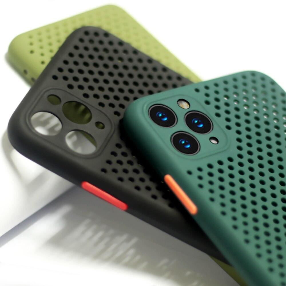 Dissipation thermique boîtier de refroidissement respirant pour iPhone 11 11Pro Max XS Max XR X 8 7 6S Plus SE 2020 coque souple couleur unie couverture arrière