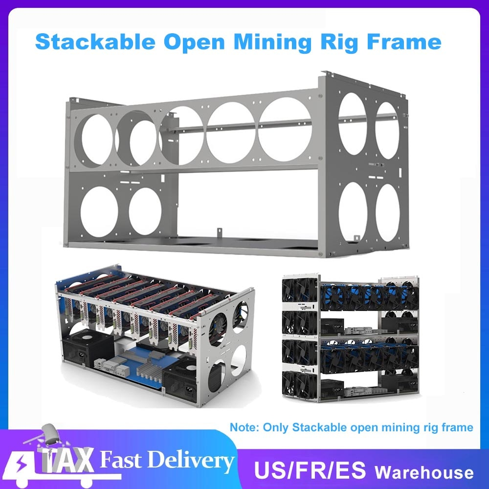Stackable Open Mining Rig Frame Mining Accessories Tools for 6/8/10 GPU Crypto Coin Bitcoin Support Rack