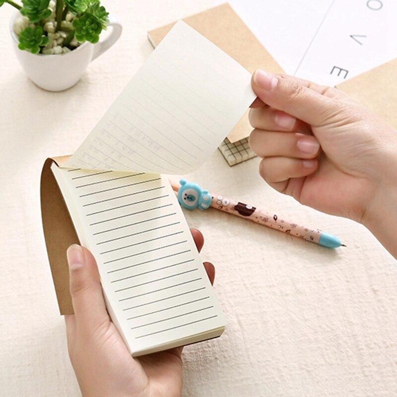 Papelería Retro Kraft cubierta en blanco Sketch Book Horizontal línea/cuadrícula/para hacer lista pequeña Bloc de notas de bolsillo de oficina suministros