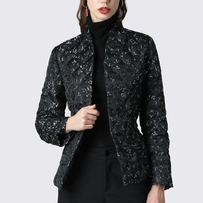 Chaqueta de plumón elegante con estampado Floral negro ajustado abrigo de plumón de pato cálido grueso ligeramente 2019 invierno chaquetas de plumón