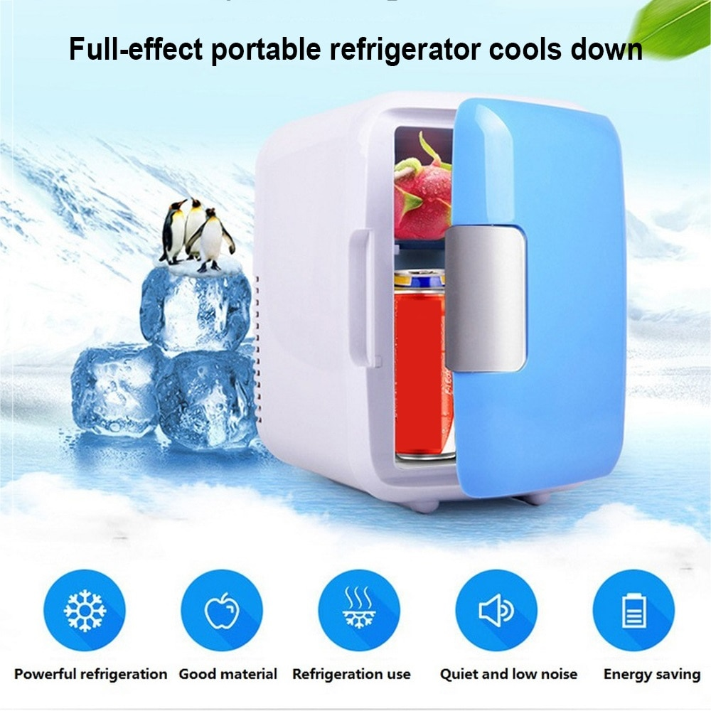4L Mini Car Fridge Travel Refrigerator Portable 12V Cool Heat Cooler and Warmer Home Office Freezer Universal Vehicle Parts