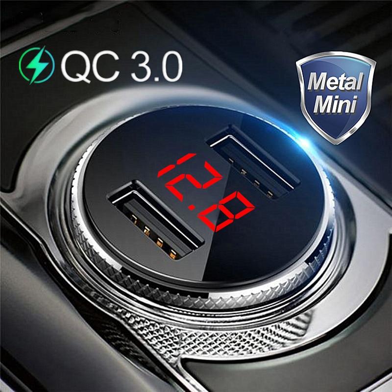 QC 3.0 Metal Dual USB Phone Car Charger LED Digital Display For iPhone Xiaomi Samsung Huawei Quick C
