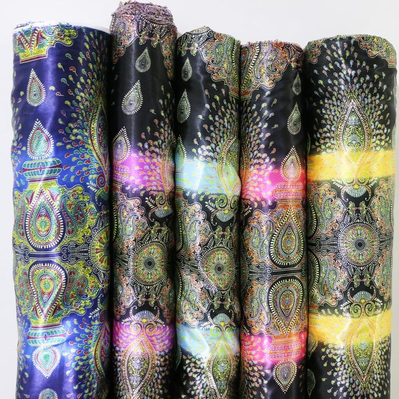 100cm * 148cm paisley floral do vintage impresso cetim forro pano costura vestido saco forro cetim tecido de poliéster