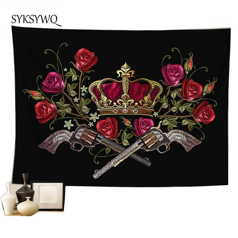 Tapiz de pistola de flores rosas decoración de hiome tapetes boheme pared colgante de pared de alfombra negra