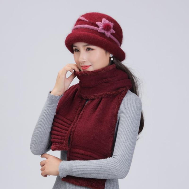 Women's Winter Hat Scarf Wool Beanie Skullies Elegant Rabbit Fur Hat Cap Female Knitted Wool Warm Hats For Women Scarf suit