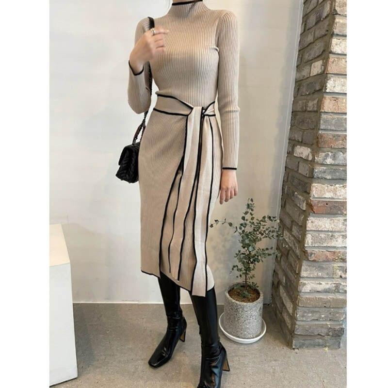 فستان محبوك من قطعة واحدة ، نحيف ، عتيق ، أكمام طويلة ، سترة أنيقة ، مجموعة خريف وشتاء 2021
