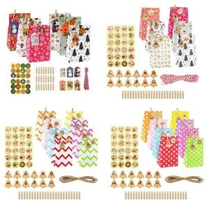24 Sets Christmas 1-24 Advent Calendar Cookie Candy Paper Bag with Clips Stickers Tags Hemp Rope Gift Storage Box Decoration