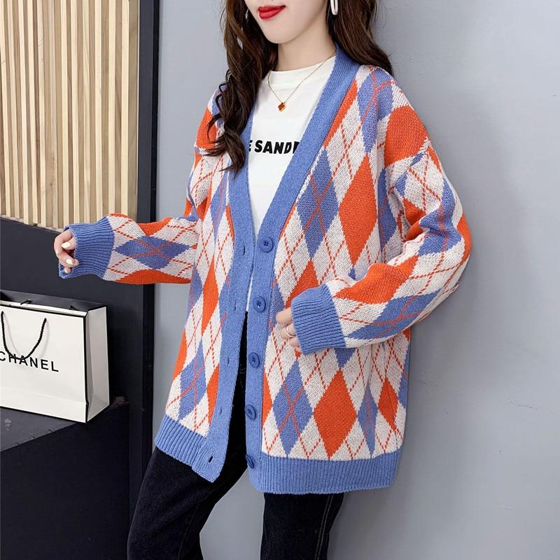 New Autumn Winter Women Diamond Grid Loose Long Knit Cardigan Coat Female Casual Long Sleeve Korean Luxury Tops Sweater Clothing enlarge