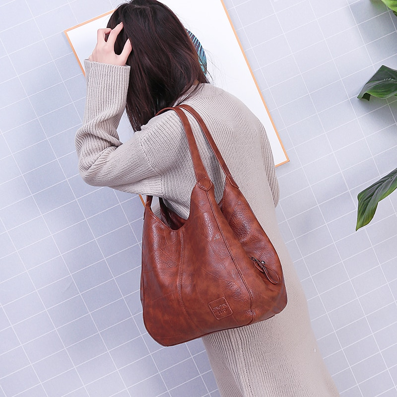 Vintage Leather luxury handbags women bags designer famous brand Large Capacity Tote Bags for sac A Main