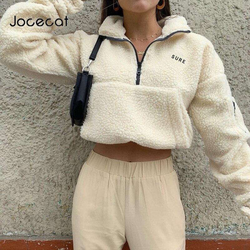 Autumn Winter Warm Women Teddy Coats Letter Embroidery Long Sleeve Crop Pullover Top Zipper Turtleneck Faux Fur Coat