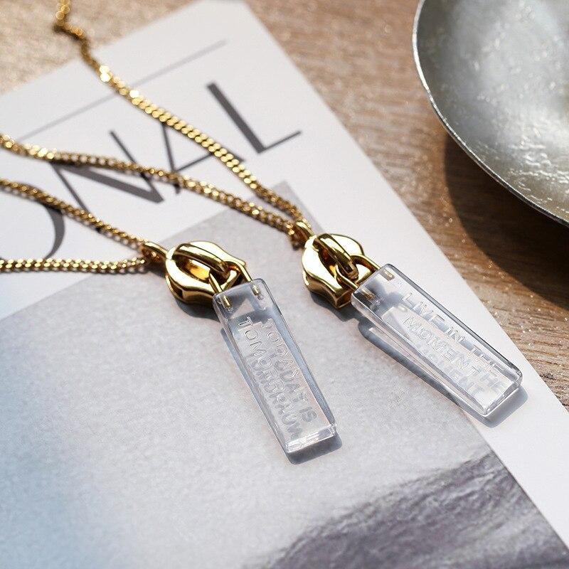 Cobre chapado en oro transparente ins all-match zipper decoración mejor amigo gargantilla stud pendientes collar