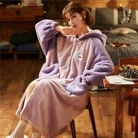 winter pajamas hooded inspissate nightgown women sleepwear plush nightdress keep warm night robe loose version medium style