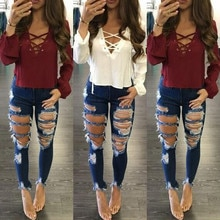 2019 mujer verano otoño agujero cintura alta Casual cremallera Fly lápiz Jeans borla lado empalme pantalones vaqueros pantalones de moda # G30