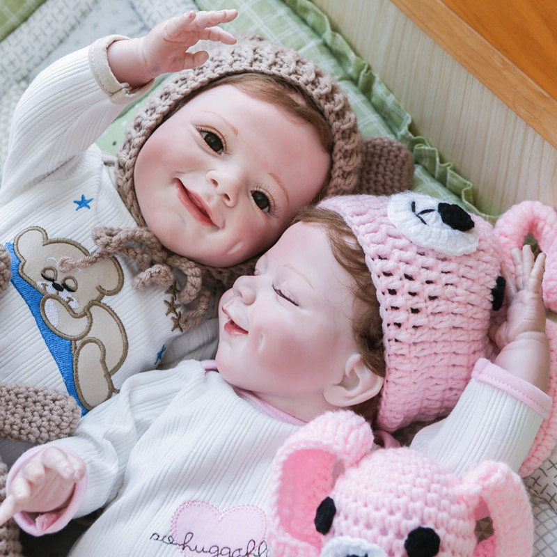 55CM new saskia with teeth Bebe reborn todderl girl baby doll lifelike real touch full body silicone/cotton body bonecas