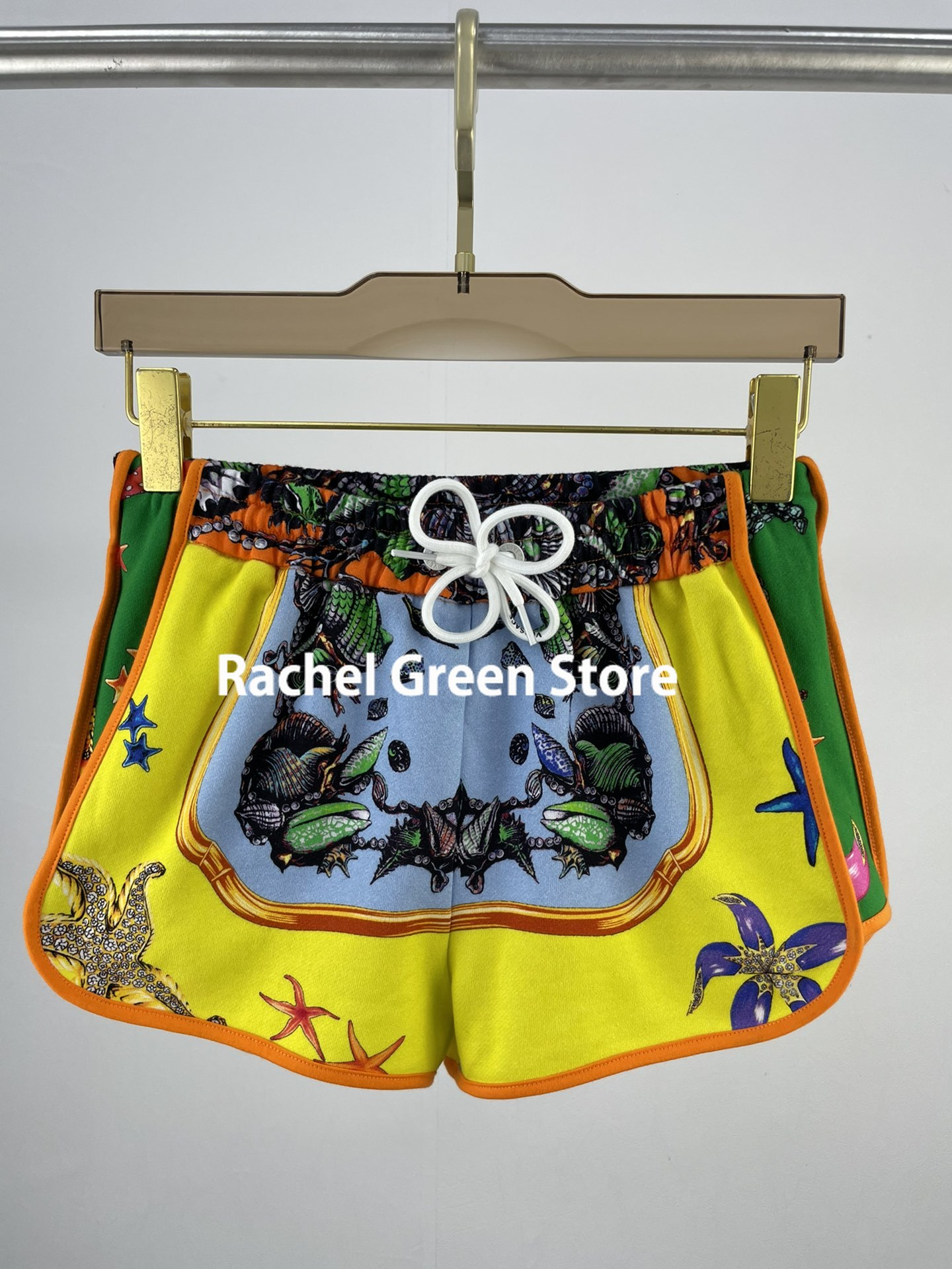 high end luxury designer 2021 woman shorts Summer New Colorful Ocean Starfish series Print Casual Sports Loose Shorts for Women