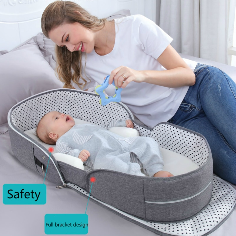 Multifunction Baby Bed for Travel Baby Sleeping Cot With Mosquito Net Newborns Baby Beddings Cribs Foldable Mummy Diaper Bag