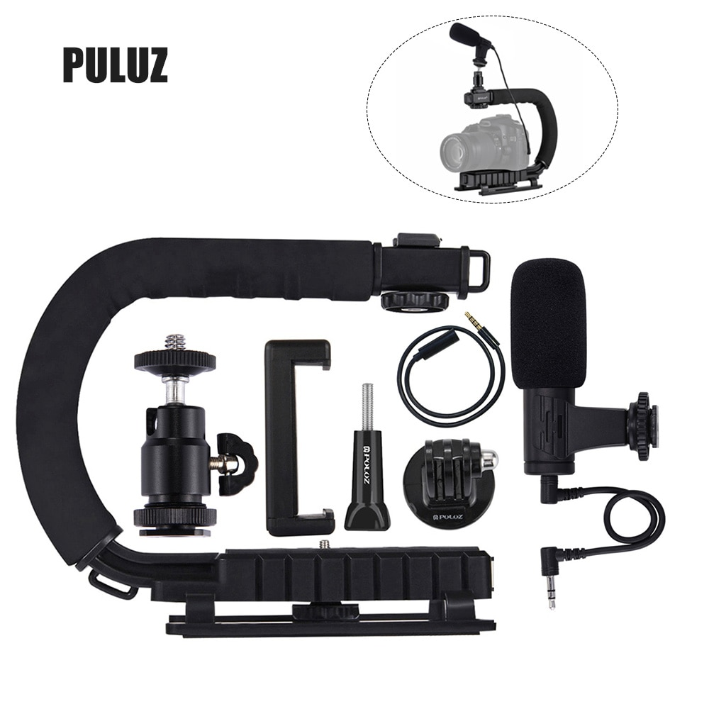 PULUZ en forma de U soporte de cámara portátil mango de vídeo DV soporte estabilizador Kit para todas las cámaras SLR y el hogar la cámara DV.