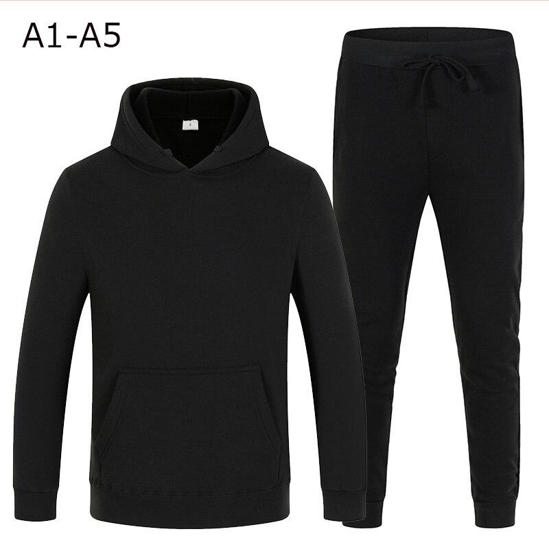 New Hoodies Set tracksuit men Fleece Warm Sweatshirt print Jogging Homme tracksuit survetement homme Two Piece Set Top And Pants