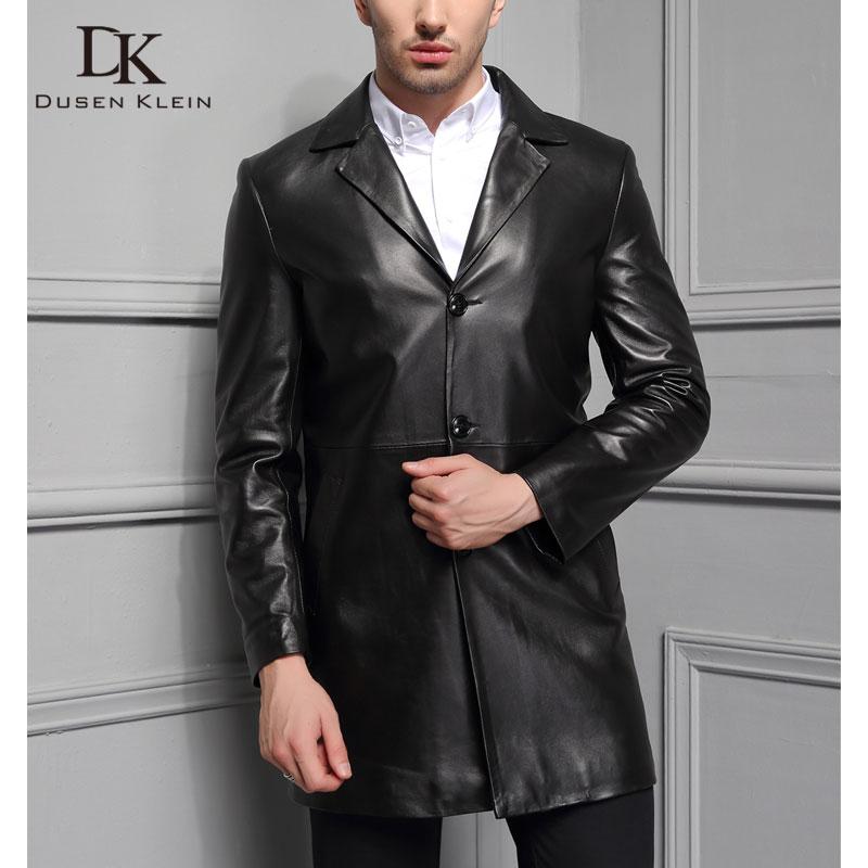 جاكيت جلد أصلي للرجال سترات جلد الغنم الحقيقي جيوب سوداء غير رسمية سترة جديدة للرجل F1708
