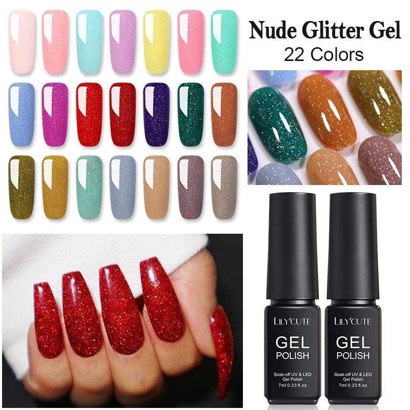 LILYCUTE-Gel UV para verano, 7ml, Color Nude, purpurina, lentejuelas, gelatina semipermanente, esmalte de uñas en Gel, arte de esmalte de uñas con diseño