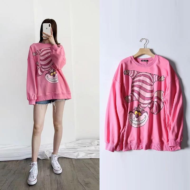 Fashion Cheshire cat Sweatshirt women clothing carton print autumn streetwear 2019 o neck long sleeve oversize Pink pullover