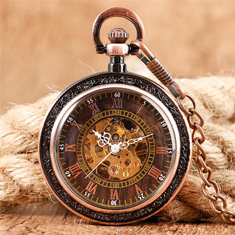 Red Bronze Skeleton Handwinding Mechanical Pocket Watch for Men Women Roman Numeral Fob Pendant Chain Open Face Clock Collect