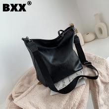 [BXX] สีทึบPUหนังไหล่กระเป๋าผู้หญิง2021ขนาดใหญ่ความจุสูงCrossbody Messengerกระเป๋าเดินทางหญิงกระเป๋าถือHK259
