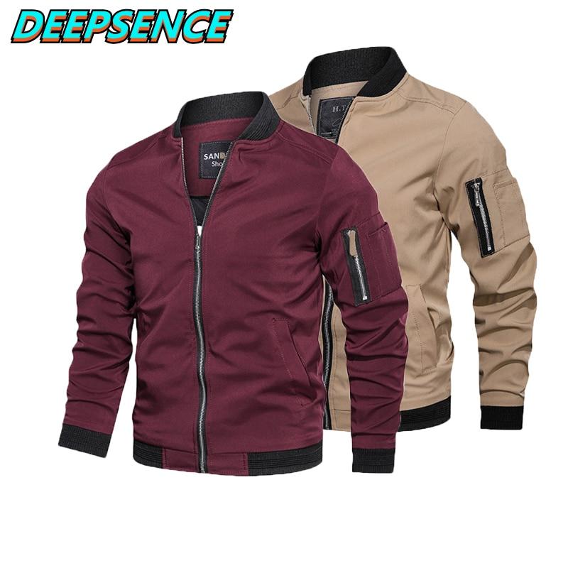 Spring Autumn Fashion Casual Jacket Coat Men England Stand Neck Solid Zipper Pockets Streetwear Simp