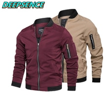 Spring Autumn Fashion Casual Jacket Coat Men England Stand Neck Solid Zipper Pockets Streetwear Simp