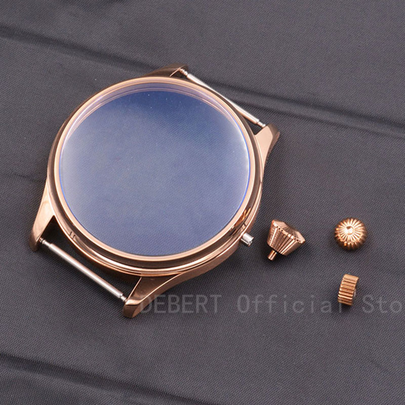 44mm Debert funda de oro rosa PVD estéril Kit de carcasa de reloj ETA 6497 6498 Gaviota st3600 movimiento de bobinado de mano 3 tipos de corona