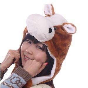 JOYHY Kids Girls Boys Cute Plush Brown Black Horse Cartoon Eapflap Animal Hats Teenages Halloween Cosplay Winter Warm Skull-caps
