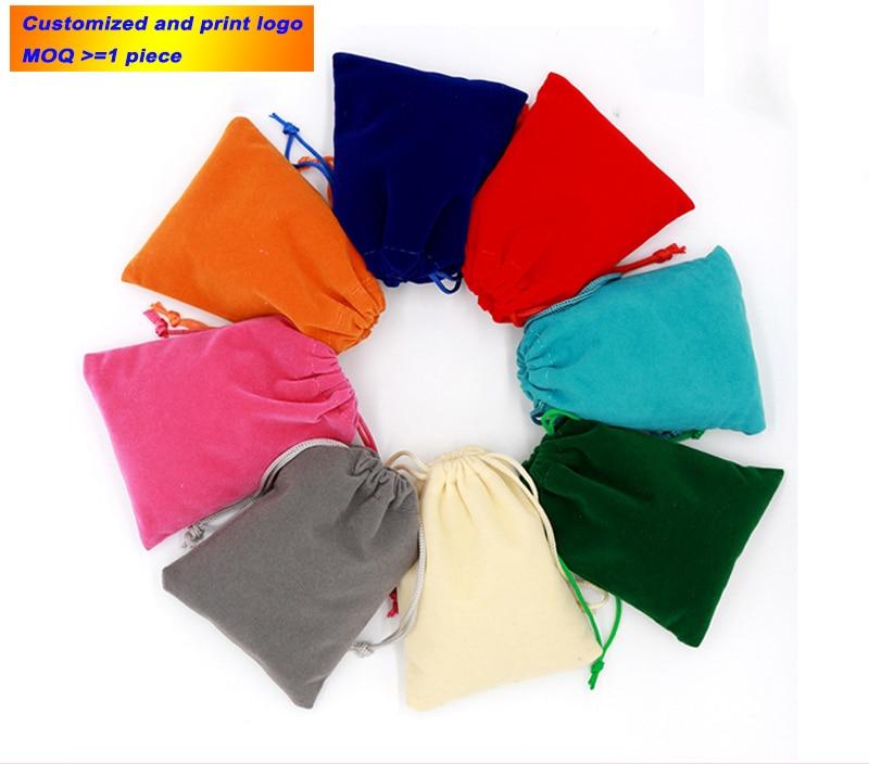 Bolsa colorida de terciopelo, bolsitas de terciopelo con cordón, bolsas de regalo, se puede personalizar la exhibición del embalaje de la joyería