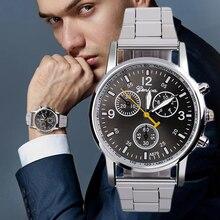 Men Steel Strap Watch Luxury Business Alloy Quartz Dial Electronic Watch Charm Wrist Clock Simplicit