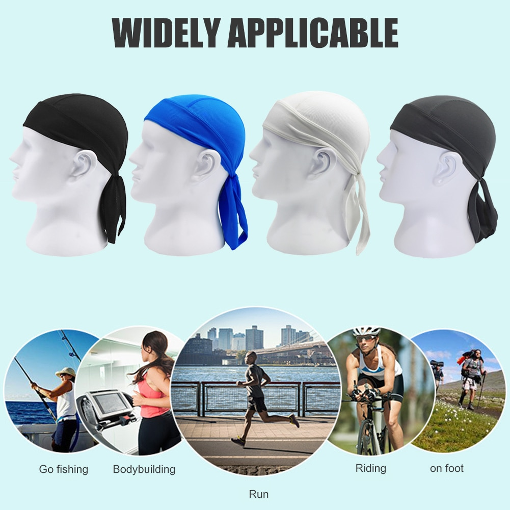 Solid Color Breathable Bandana Pirate Cap Headscarf Quick Drying Outdoor Cycling Riding Sports Runni