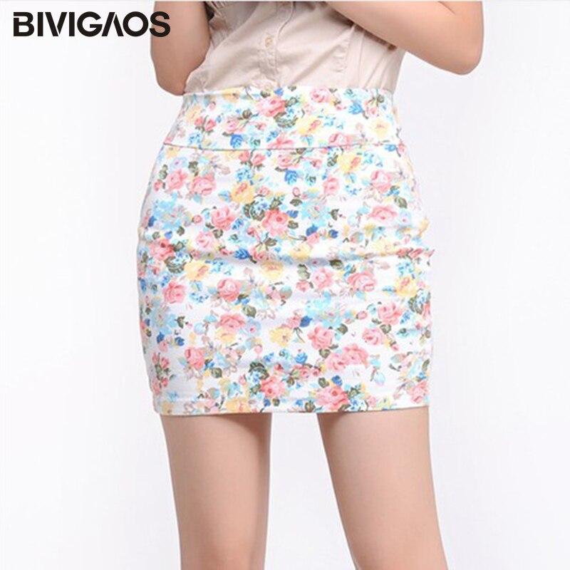 BIVIGAOS, minifalda Sexy Coreana de verano para mujer, Falda recta elástica tejida con estampado de flores, faldas cortas, faldas de realce a la cadera para mujer