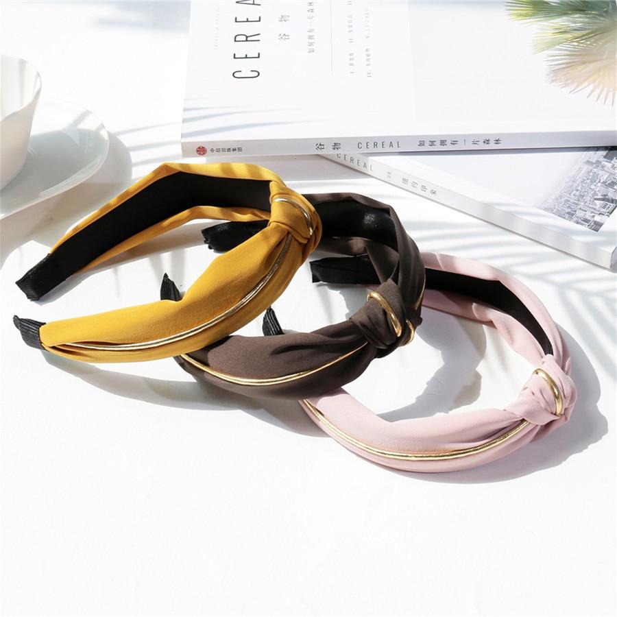 Cor sólida coreano algodão headwear feminino acessórios para o cabelo moda cruz nó hairbands jóias para meninas borda de ouro esporte tiara