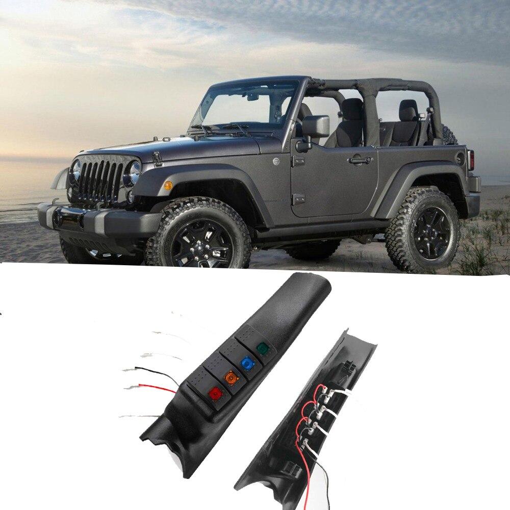 Автомобильный левый и правый боковой А-столб переключатель Pod панель 4 Кулисный комплект переключателей для Jeep переключатель панели для Jeep Wrangler JK JKU 2011-2017