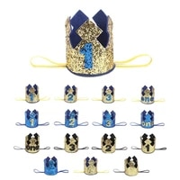 blue gold boy first birthday hat glitter princess crown number 1st 2 3 year old party baby shower decor headband kids gifts