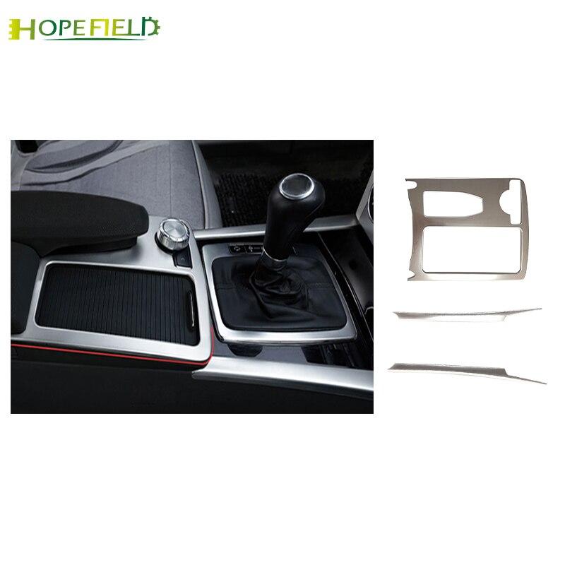 For Benz W204 C180 C200 E 2009- 2014 Class Water Cup 3 pcs Holder Deacoration Trim Center Console Sticker Shift Knob Panel Frame