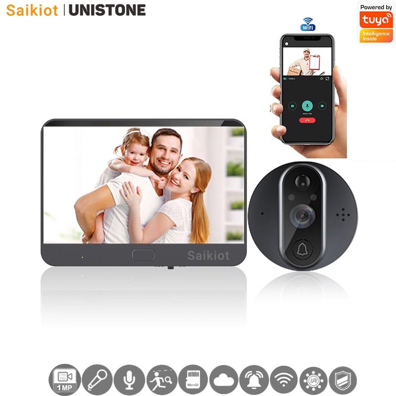 Saikiot Tuya Smart Wireless Video Doorbell 720P WIFI Peephole Fisheye Camera Two Way Audio PIR Motio