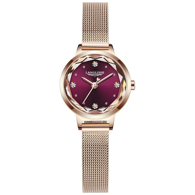 LANGLISHI Fashion Women Watch Top Brand Luxury Ladies Mesh Belt Ultra-thin Watch Stainless Steel Waterproof Watch Reloj Mujer