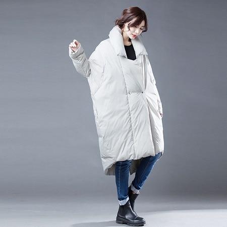 Veste longue en duvet col montant femme   Vêtement dextérieur haut de gamme, fait à la main, grande taille, style coréen, collection hiver 2019