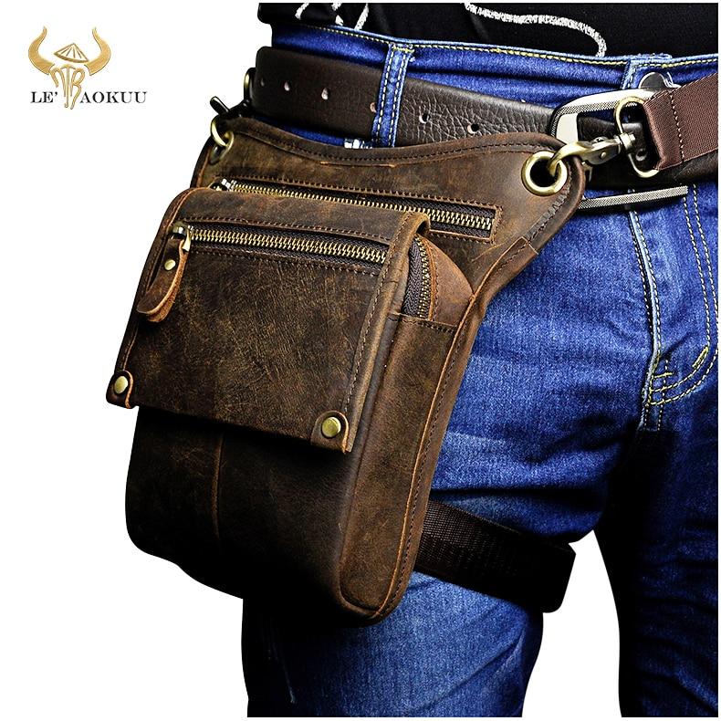 Crazy Horse Leather men Multifunction Design Small Messenger Bag Fashion Travel Belt Waist Pack Drop