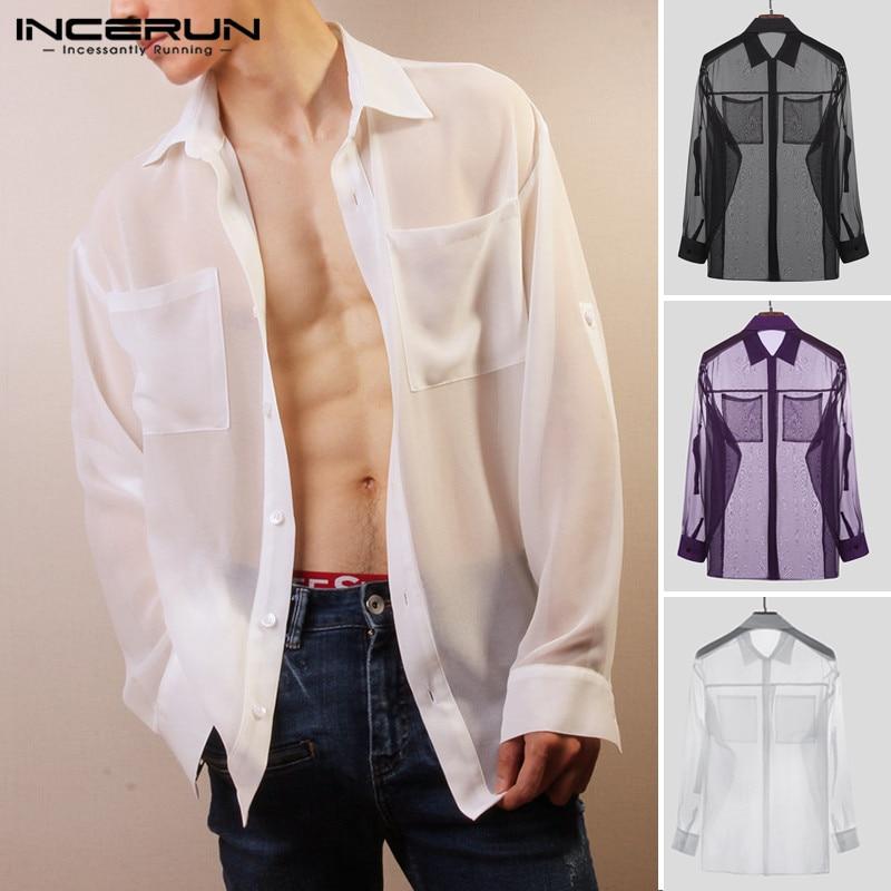 INCERUN Fashion Men Mesh Shirt See Through Long Sleeve 2020 Streetwear Pockets Nightclub Party Shirts Men Lapel Sexy Tops S-5XL