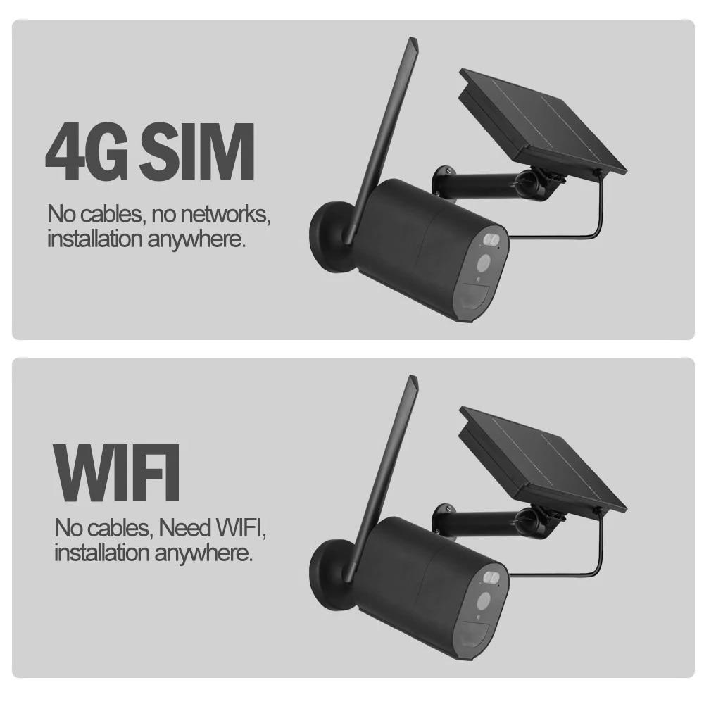 4G Solar Security Camera Wifi Outdoor Wireless Surveillance Solar Panel Battery Camera 1080P HD PIR Detection Color Night Vision
