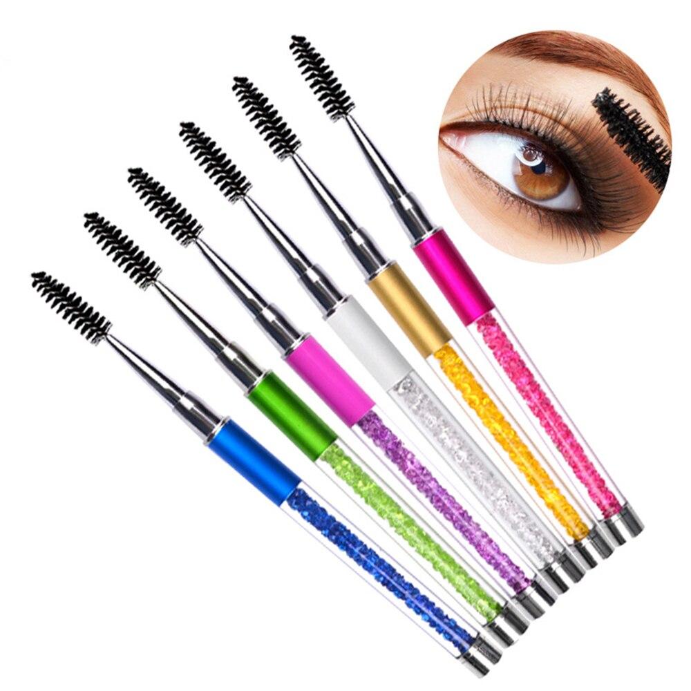Nuevo cepillo de pestañas reutilizable, aplicador de varilla de rímel cosmético, herramienta de maquillaje, bolígrafo, cepillo de pestañas de diamantes de imitación en espiral