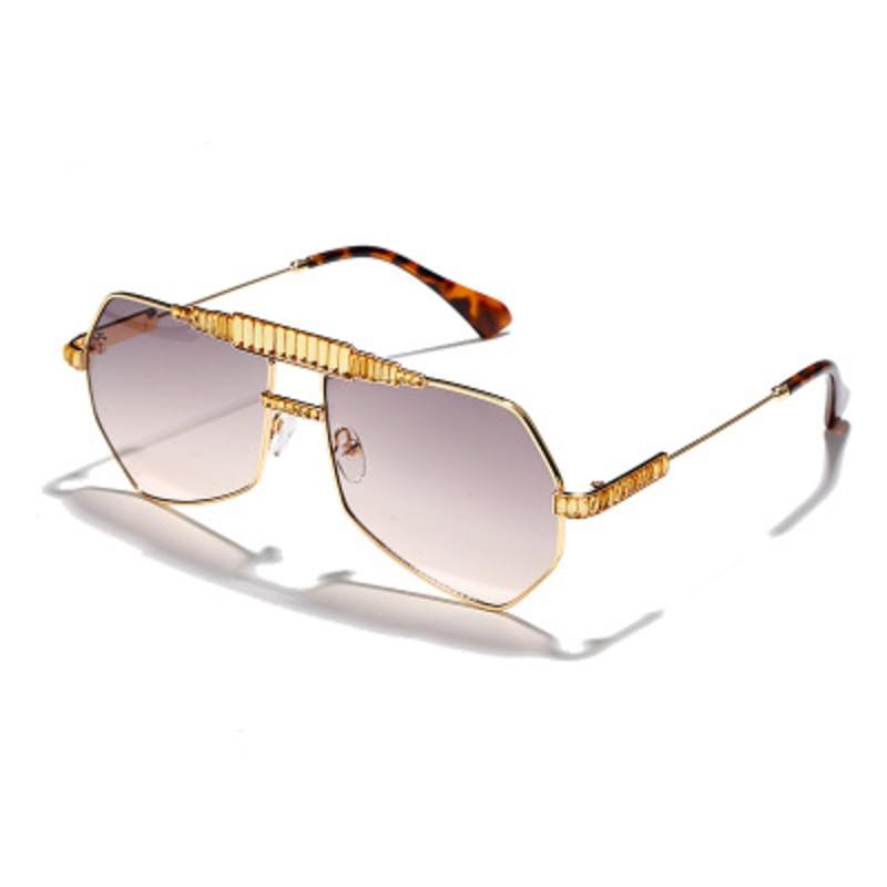 NAUQ, gafas de sol clásicas brillantes para hombre 2020, gafas de sol de marca de lujo para mujer, gafas con montura metálica retro con personalidad UV400