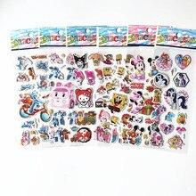 60 uds diferentes 3D de dibujos animados de Spiderman Mickey melodía Bob Esponja sam dino Halo pegatina de gatito burbuja hinchada niños juguete para regalo