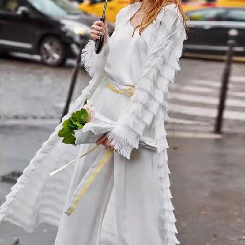 2019 encaje borla Cardigans mujer abrigo largo elegante manga larga sólido cárdigan mujer Streetwear Kardigan mujer cárdigan vestido