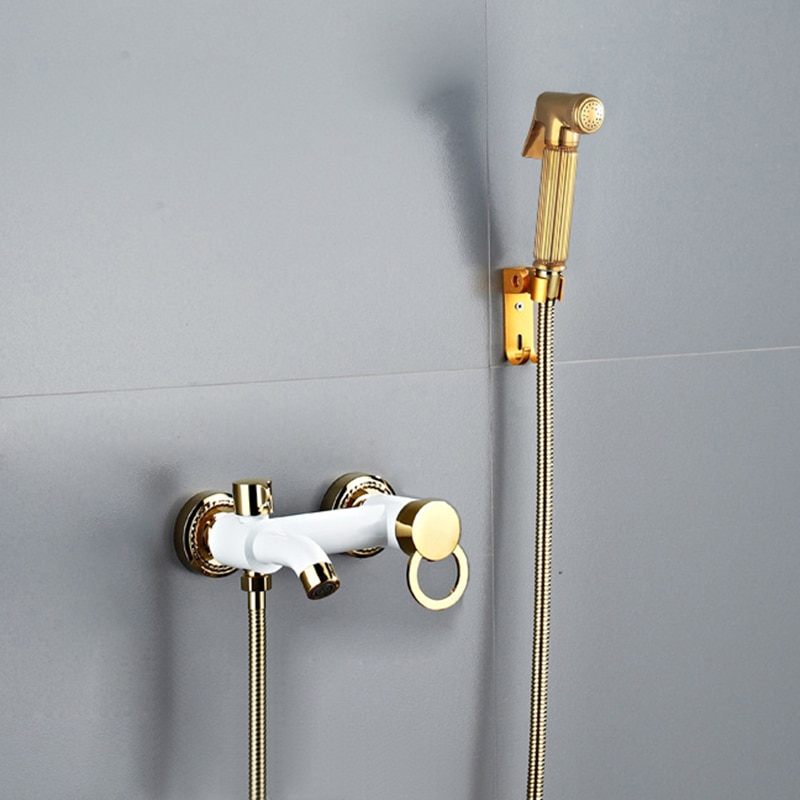 Bidet Shower Faucet Gold and White Brass Toilet Bidet Taps Muslim Ducha Higienica Hot and Cold Water Mixer Tap Bathroom Faucets
